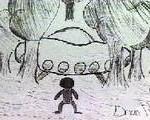 Representação do OVNI e da entidade, desenhada por uma das crianças da escola.