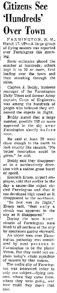 Farmington Invaded By Saucer Squadron (Body) - New Mexican 3-17-1950