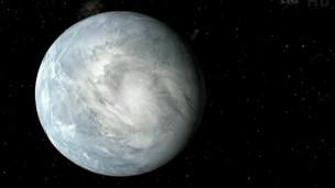 Renderização artística de exoplaneta que pode abrigar vida.