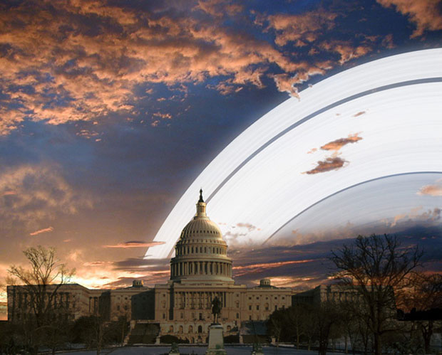 "From Washington, DC, the rings would ""dominate"" the sky both during the day and at night:"