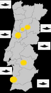 Mapa dos avistamentos deste mês em Portugal. Crédito: UFO Portugal