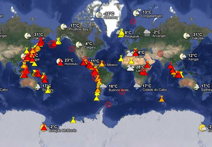 Atividade de vulcões no planeta em novembro