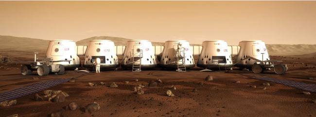 Ilustração artística do que poderia ser a primeira colônia humana em Marte