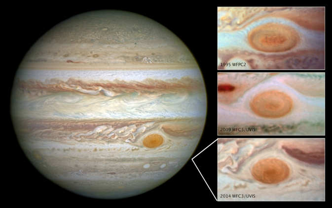 mages of Jupiter's Great Red Spot, taken by the Hubble Space Telescope over a span of 20 years, shows how the planet's trademark spot has decreased in size over the years Image Credit:  NASA/ESA