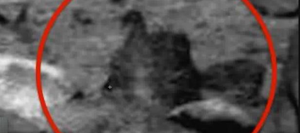 Com base na sequência de fotos, essa pedra parece ter se movimentado na superfície de Marte.  Scott Waring alega em seu vídeo que o que se vê é uma criatura viva.