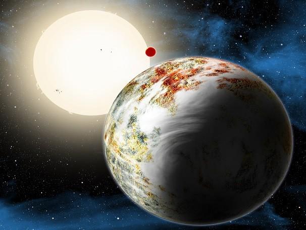 Renderização artística de como pode parecer o planeta Kepler-10c, uma Mega-Terra.