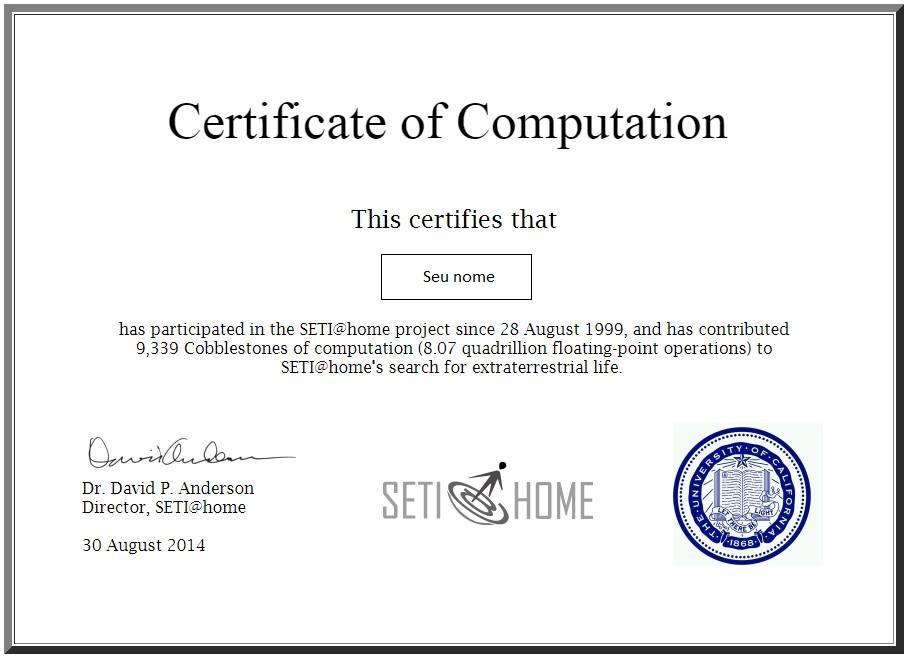 certificado SETI
