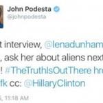 Twitter de John Podesta toca novamente sobre o assunto ET
