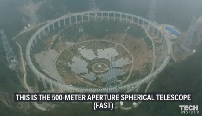 Telescópio chinês com 500 metros de diâmetro