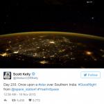 Foto tirada pelo astronauta Scott Kelly, mostrando objeto anômalo, causa controvérsia