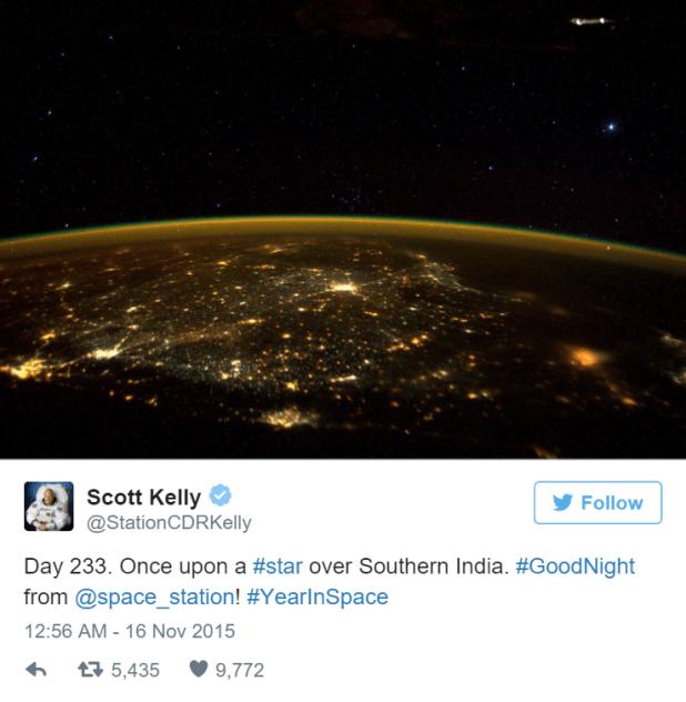Foto obtida pelo astronauta Scott Kelly, publicada em seu Twitter