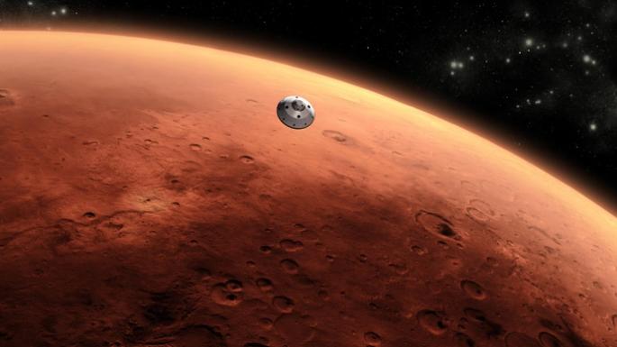 Nave chegando em Marte