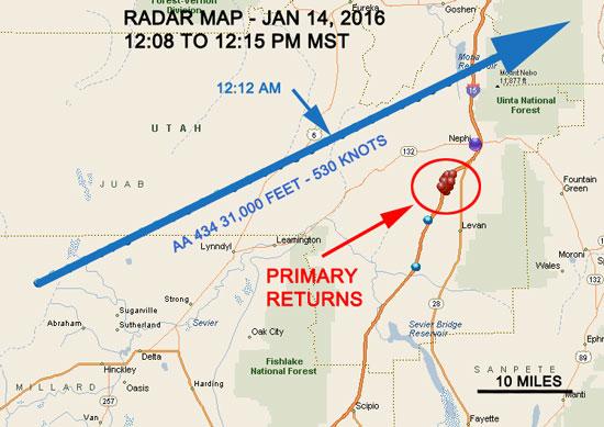 Disparos de radar em relação à trajetória de voo. Os horários neste gráfico mostram de forma errônia pm (pela tarde), do que am (pela manhã).Credito: UFOs Northwest