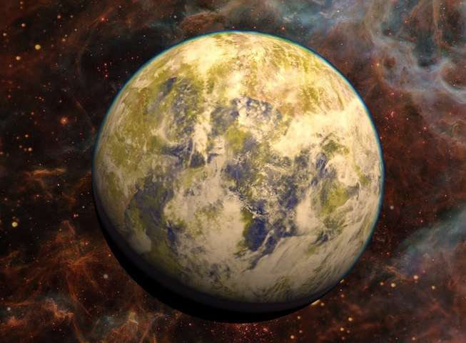 Artistic representation of the potentially habitable super-Earth Gliese 832c against a stellar nebula background. Credit: PHL @ UPR Arecibo, NASA Hubble, Stellarium. Read more at: http://phys.org/news/2016-04-earth-like-planet-nearby-star.html#jCp