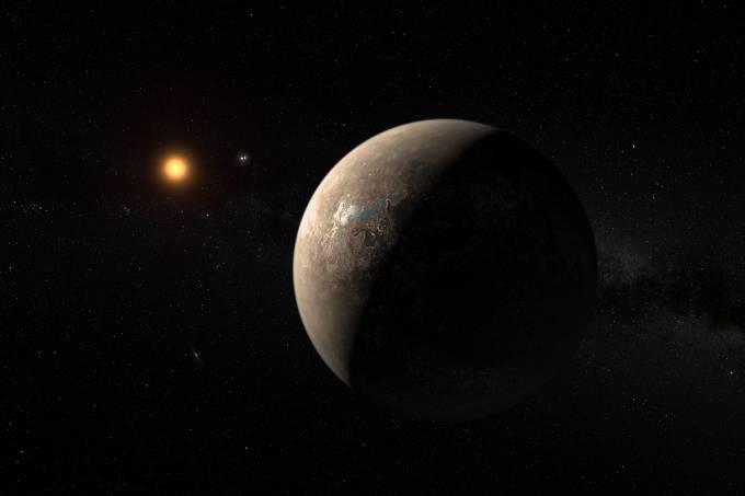 Impressão artística de Proxima b. Os astrônomos aguardavam a descoberta de um mundo assim desde que começaram a buscar exoplanetas que pudessem abrigar seres vivos. (M. Kornmesser/ESO/Divulgação)