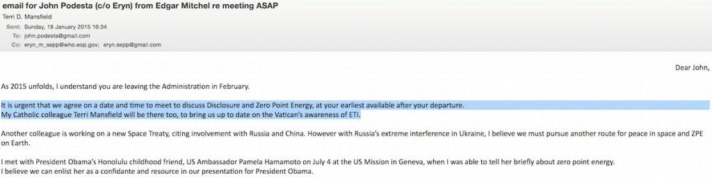 E-mail John Podesta (a / c Eryn) deEdgar Mitchel re: incontro il più presto possibile (fonte: WikiLeaks)