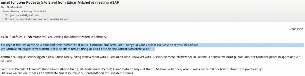 E-mail para John Podesta (a/c Eryn) deEdgar Mitchel re: Reunião o mais rápido possível (source: WikiLeaks)