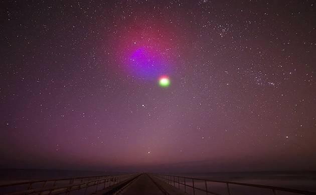nuvens artificiais coloridas